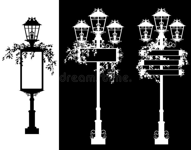 Силуэты знамен уличных светов черно-белые иллюстрация вектора