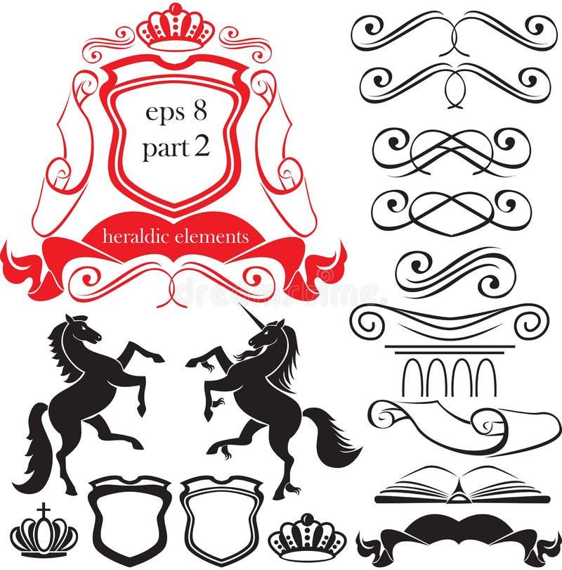силуэты комплекта элементов heraldic иллюстрация штока