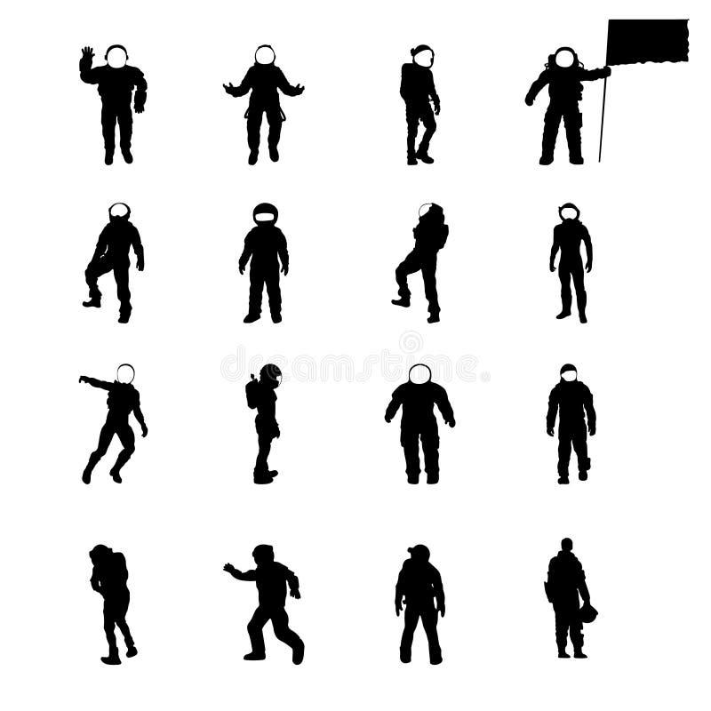Силуэты космонавтов набора, собрания вектора космонавта sillhouettes в различных представлениях иллюстрация вектора