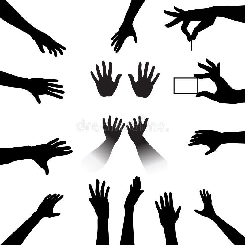 силуэты людей рук установленные иллюстрация вектора