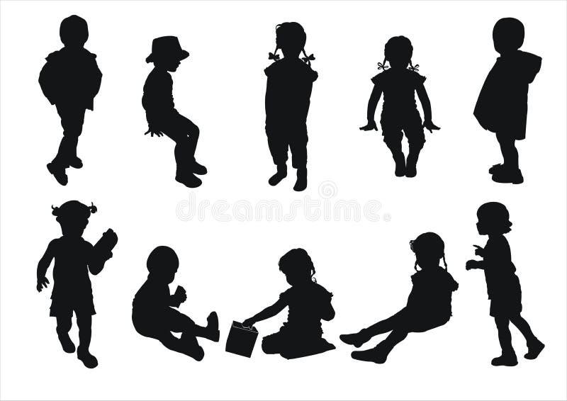 силуэты малышей иллюстрация штока