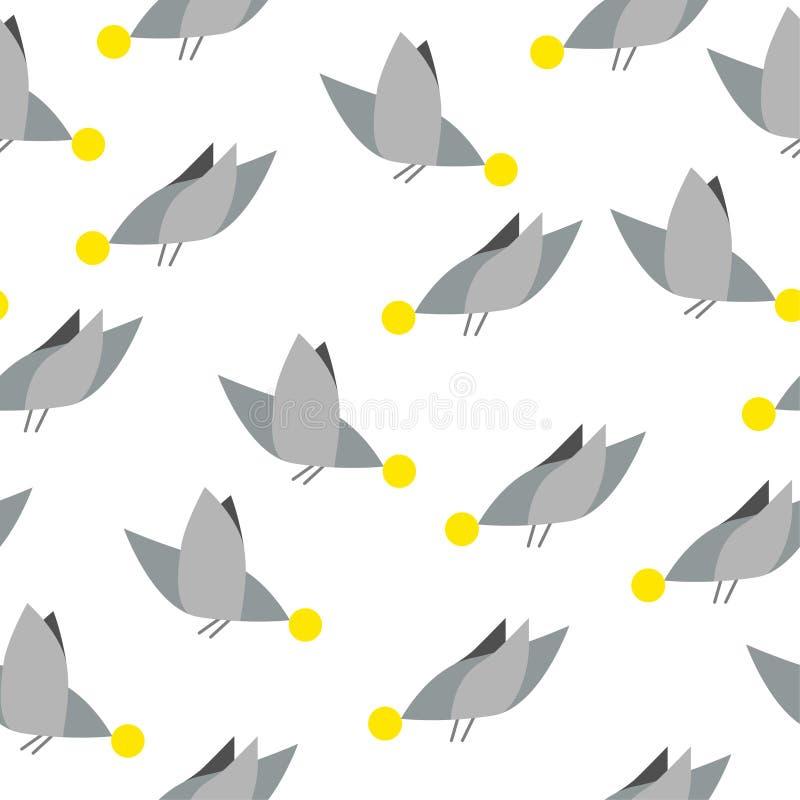 Силуэты милых птиц картина безшовная также вектор иллюстрации притяжки corel Картина детей s расти имеющейся черноты предпосылки  иллюстрация штока