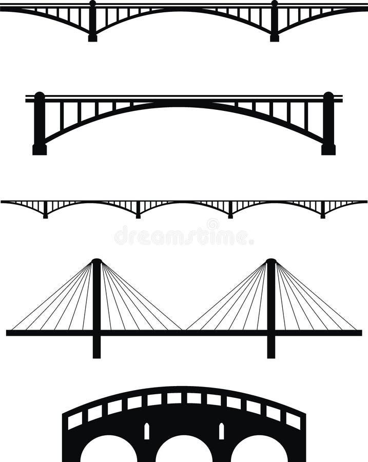 силуэты моста установленные стоковые фото