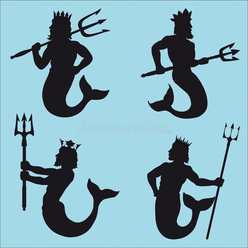 силуэты Нептуна бесплатная иллюстрация
