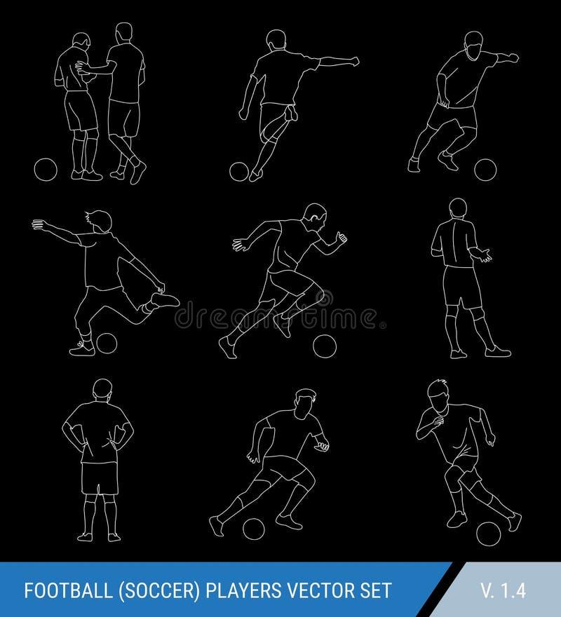 Силуэты плана вектора белые футболистов на черной предпосылке Судья и игроки, различные представления, набор вектора Футбол иллюстрация вектора