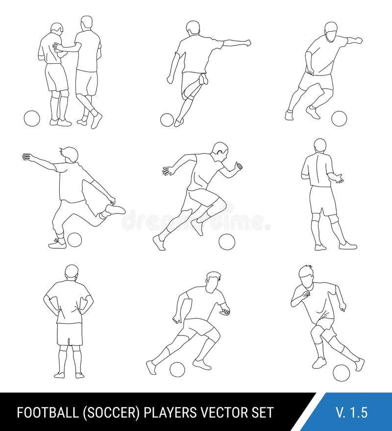 Силуэты плана черноты вектора футболистов на белой предпосылке Графический упрощенный стиль Различные силуэты  иллюстрация вектора