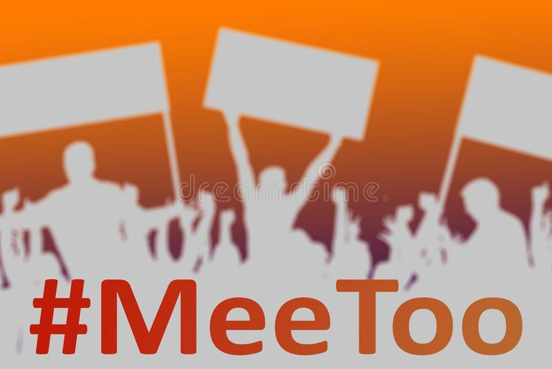Силуэты протестуя людей как символ нового движения MeeToo иллюстрация вектора