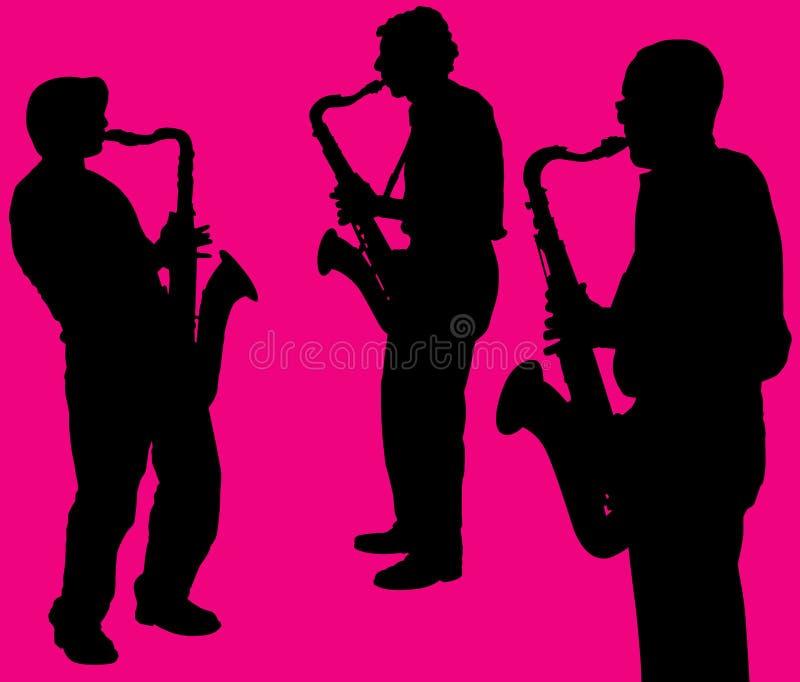 силуэты саксофона игроков иллюстрация штока