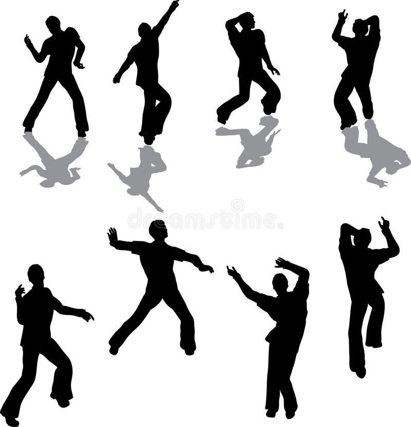 силуэты сальса танцора мыжские иллюстрация штока
