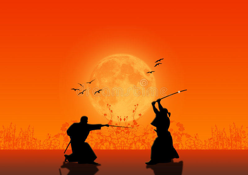 силуэты самураев иллюстрация штока