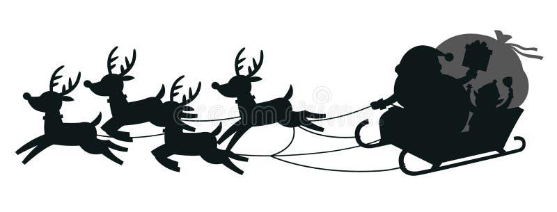 Силуэты Санта ехать в розвальнях с северными оленями иллюстрация штока