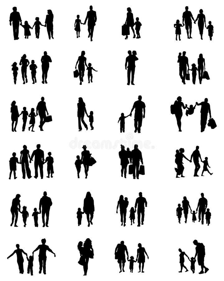 Силуэты семей иллюстрация вектора