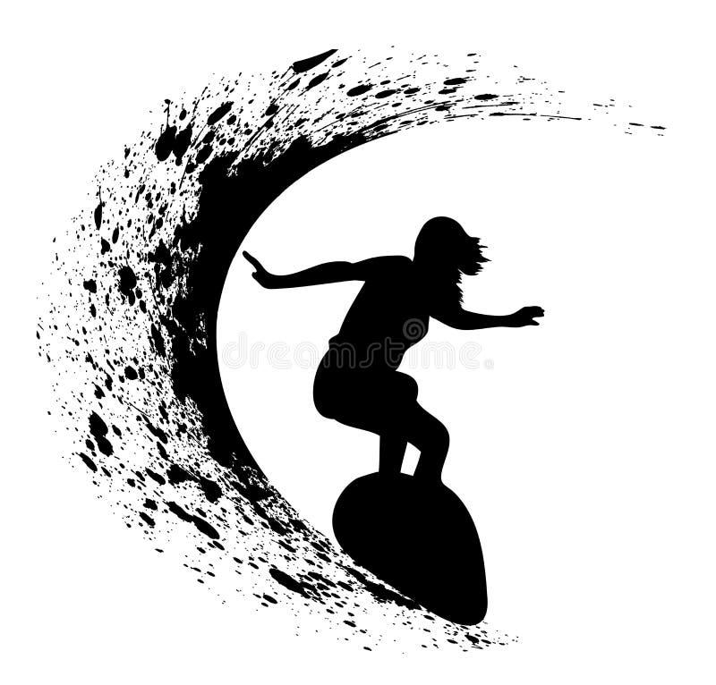 Силуэты серферов иллюстрация вектора