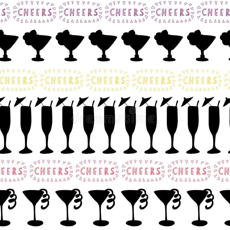 Силуэты стекел коктейля черные в ряд на белой предпосылке с приветственными восклицаниями помечая буквами в розовом, красном, и ж иллюстрация вектора