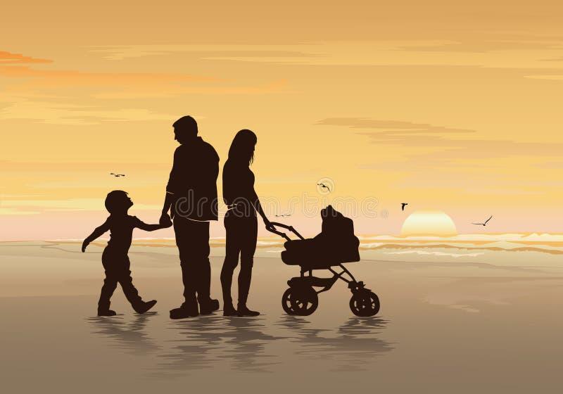 Силуэты счастливой семьи с их детьми на пляже иллюстрация штока