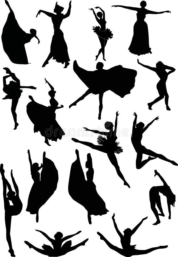 силуэты танцора балета иллюстрация вектора