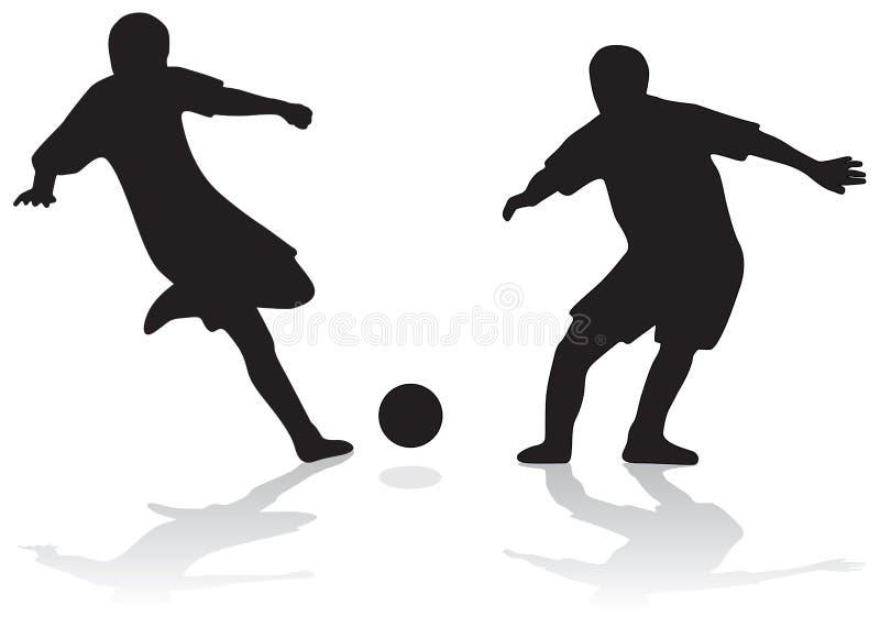 силуэты футбола иллюстрация вектора