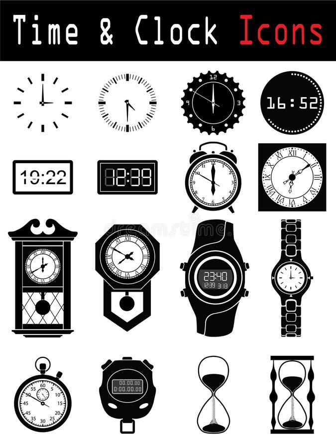 силуэты часов иллюстрация вектора
