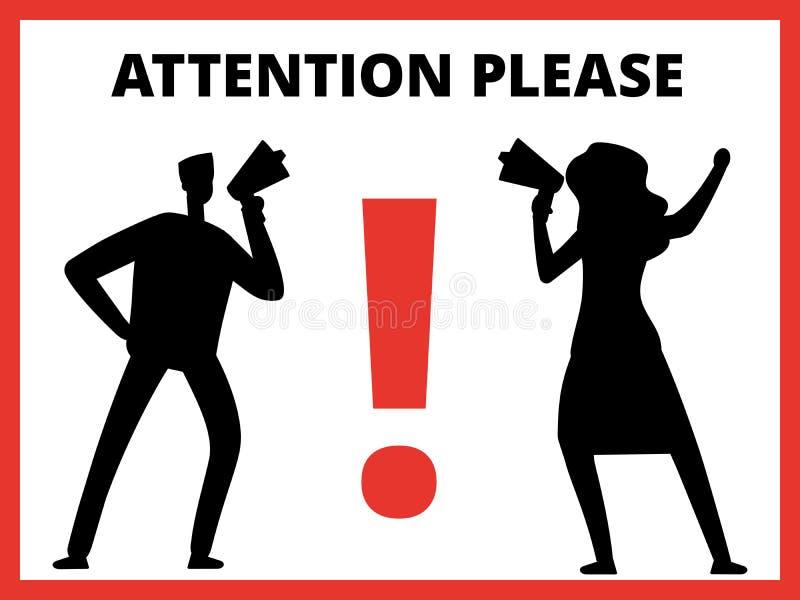 Силуэты человека с вниманием мегафона и сообщения пожалуйста иллюстрация вектора
