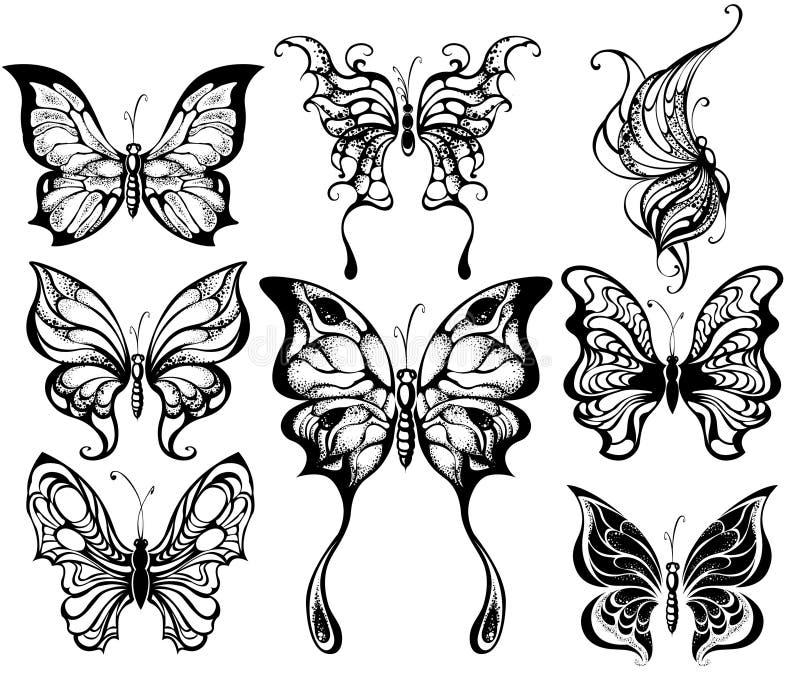 Силуэты экзотических бабочек иллюстрация штока