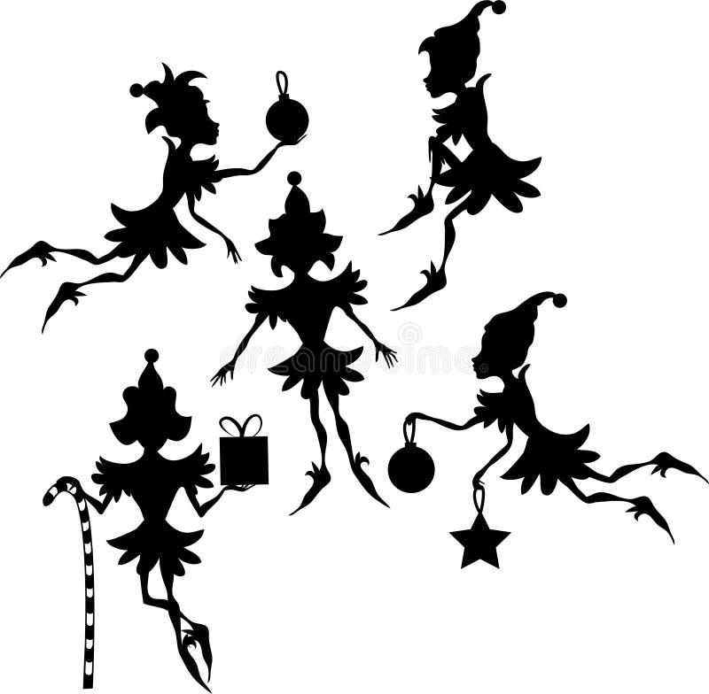 силуэты эльфов иллюстрация штока