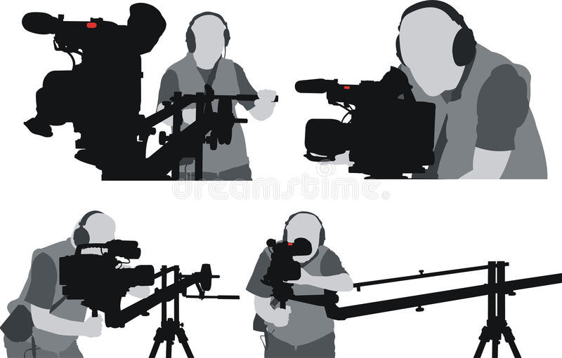 силуэты cameramans стоковая фотография