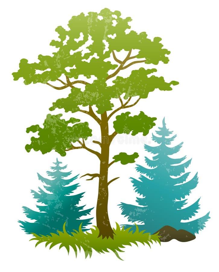 Силуэты Grunge вала пущи и firtrees бесплатная иллюстрация