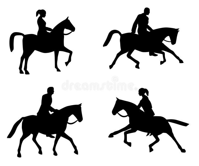 силуэты riding horseback иллюстрация штока