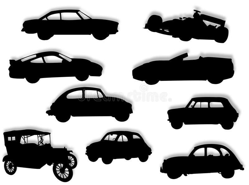 силуэт автомобилей стоковое изображение rf