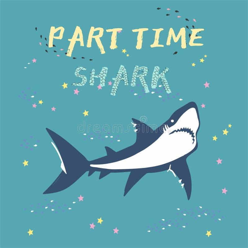 Силуэт акулы вектора с рыбами и звездами изолированными на зеленой предпосылке, символами, значком, элементами дизайна бесплатная иллюстрация