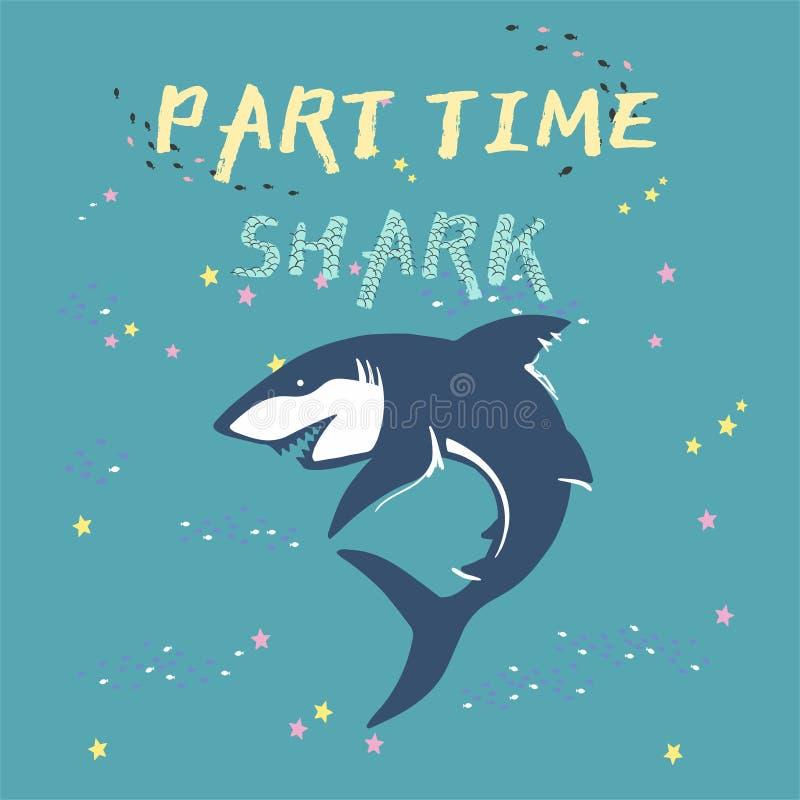 Силуэт акулы вектора с рыбами и звездами изолированными на зеленой предпосылке, символами, значком, элементами дизайна символы ак иллюстрация вектора