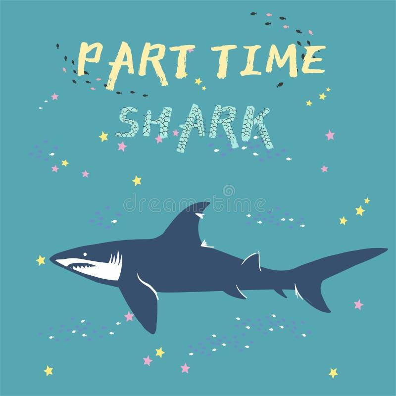 Силуэт акулы вектора с рыбами и звездами изолированными на зеленой предпосылке, символами, значком, элементами дизайна символы ак бесплатная иллюстрация