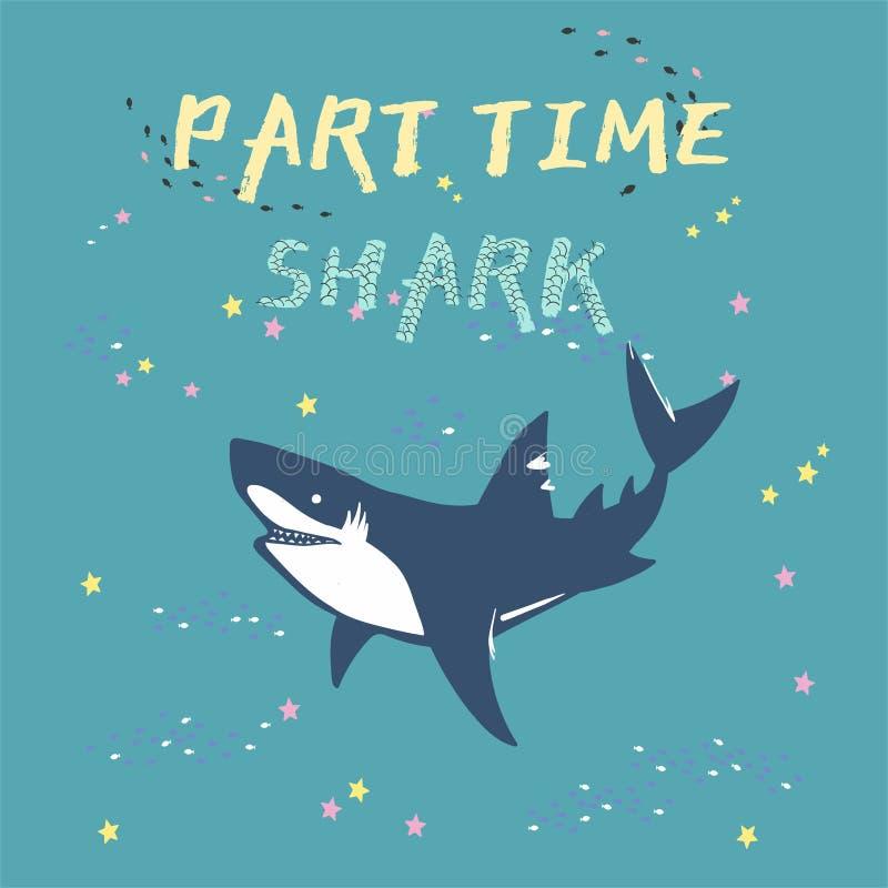 Силуэт акулы вектора с рыбами и звездами, символами, значком, элементами дизайна символы акулы, элементы дизайна иллюстрация штока