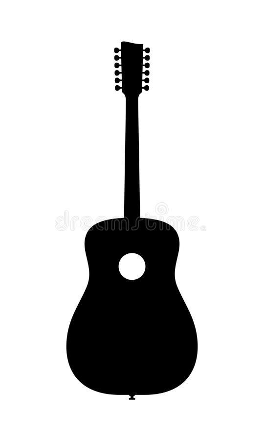 Силуэт акустической гитары 12 строк стоковое изображение