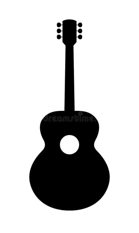 Силуэт акустической гитары стоковое изображение rf