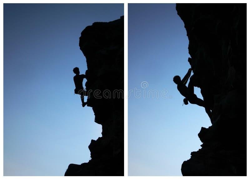 силуэт альпиниста стоковые фотографии rf