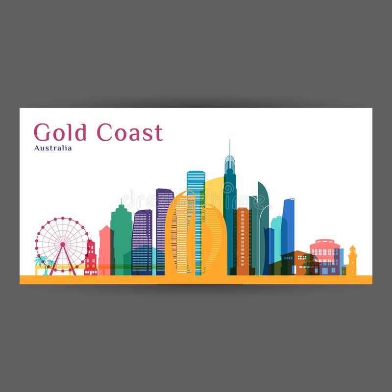 Силуэт архитектуры города Gold Coast иллюстрация штока