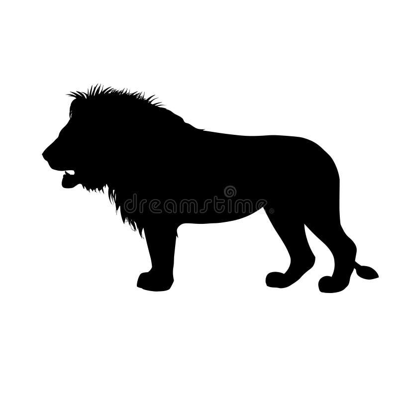 Силуэт африканского льва иллюстрация вектора