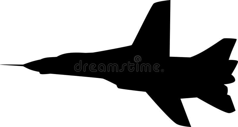 силуэт аэроплана иллюстрация вектора