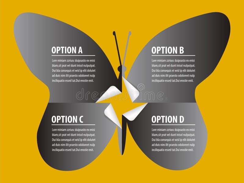 Силуэт бабочки стикеров концептуального документа Infographic черный иллюстрация вектора
