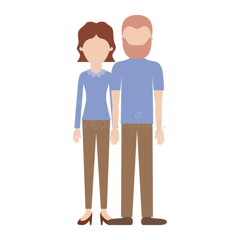 Силуэт безликих пар красочный и ее с рукавом блузки длинными и брюками и ботинками пятки с короткими волнистыми волосами и иллюстрация штока