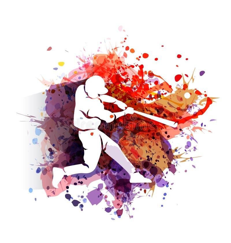 Силуэт бейсболиста на красочной предпосылке иллюстрация вектора