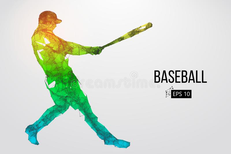 Силуэт бейсболиста также вектор иллюстрации притяжки corel