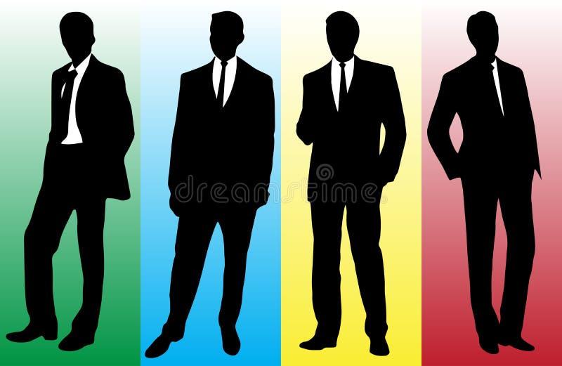 Силуэт бизнесмена в модном костюме иллюстрация штока