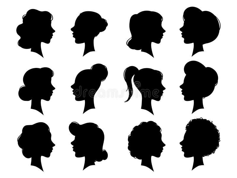 Силуэт бортовых сторон взрослого и молодой женщины винтажный Лобовой профиль женщины или женские головные силуэты Головы женщин иллюстрация штока