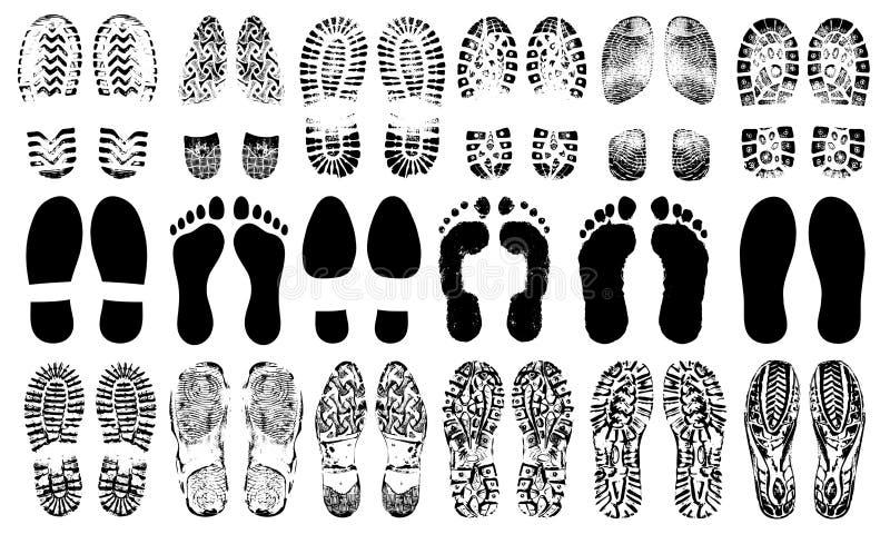 Силуэт ботинок следов ноги человеческий, комплект вектора, изолированный на белой предпосылке иллюстрация вектора