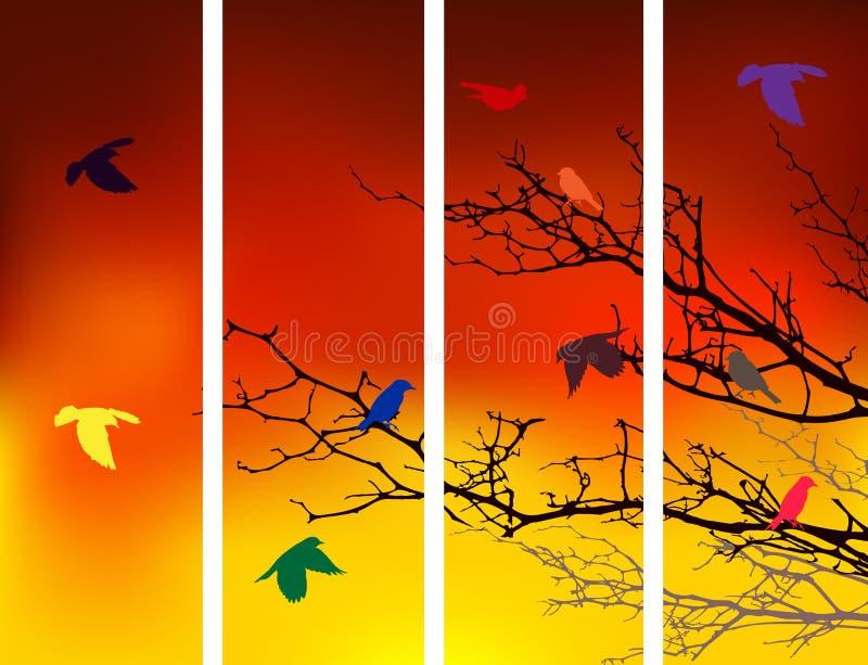 Силуэт вала с птицами иллюстрация штока