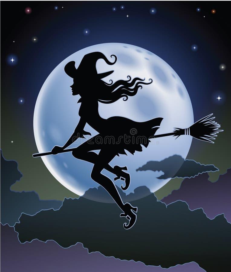 Силуэт ведьмы летания иллюстрация вектора