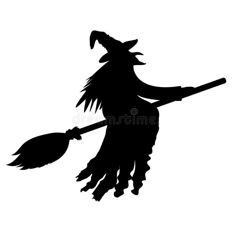 Силуэт ведьмы на broomstick на хеллоуине иллюстрация штока