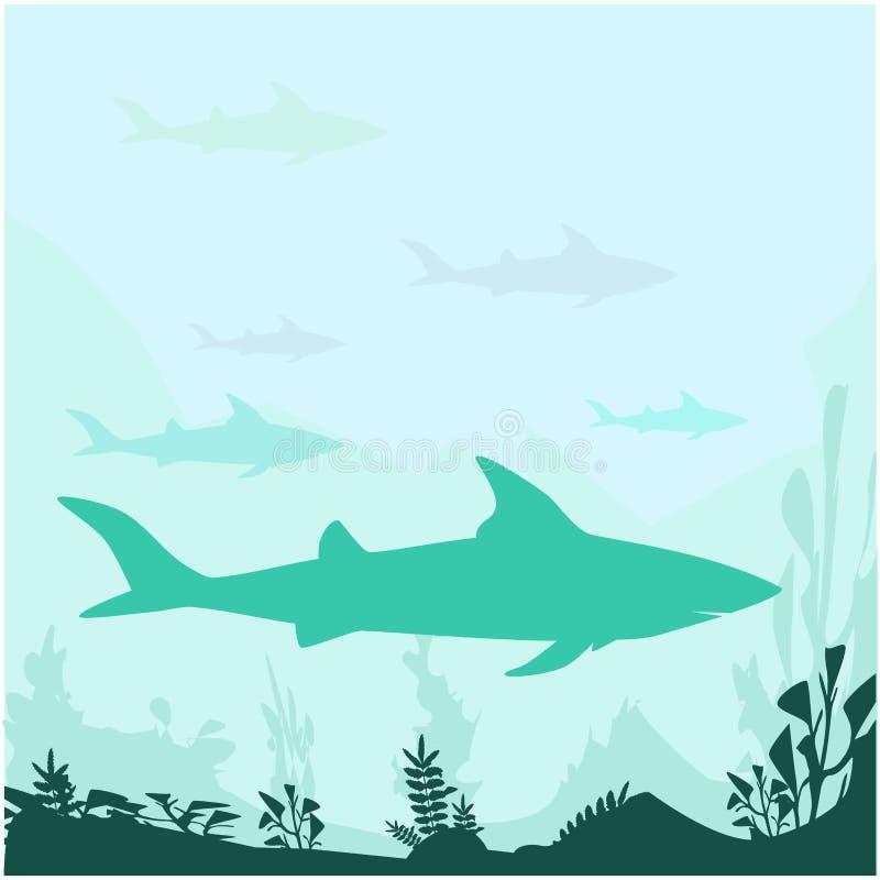 Силуэт вектора акулы иллюстрация штока